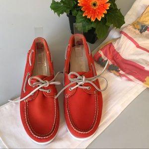 TIMBERLAND - orange leather boat shoes new